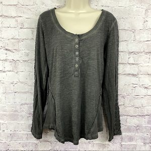 Free People Shell Stitched Long Sleeve Henley